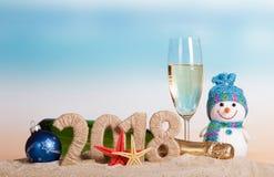 Aufschrift 2018 des neuen Jahres, Flasche und Glas Champagner, snowma Lizenzfreie Stockbilder