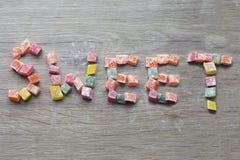 Aufschrift gemacht durch orientalische Bonbons Türkische Bonbons stockfoto