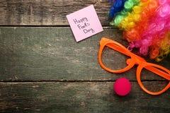 Aufschrift-glücklicher Dummkopf-Tag Lizenzfreies Stockfoto