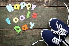 Aufschrift-glücklicher Dummkopf-Tag Stockbild