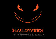 Aufschrift Halloween und furchtsames Gesicht Lizenzfreie Stockbilder