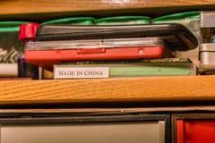 Aufschrift, hergestellt in China Stockfotografie