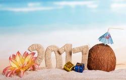 Aufschrift 2017, Kokosnuss, Weihnachtsgeschenke, Blume des neuen Jahres auf Meer Stockfotos
