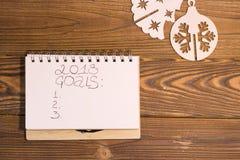 Aufschrift mit 2018 Zielen in einem Notizbuch stockfotos