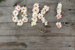 Aufschrift ` O.K.! ` von den Blumen auf altem unbemaltem hölzernem Hintergrund mit Kopienraum Lizenzfreie Stockbilder