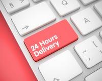 Aufschrift 24 Stunden Lieferungs-auf roter Tastatur-Tastatur 3d Stockfotos