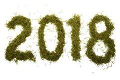 Aufschrift 2018 von den Weihnachtsnadeln auf einem weißen Hintergrund Stockbilder