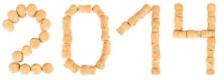 Aufschrift '2014' von den Weinkorken Stockbilder