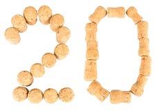 Aufschrift '20' von den Weinkorken Stockfotografie