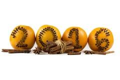 Aufschrift 2016 zu den Orangen Stockbilder