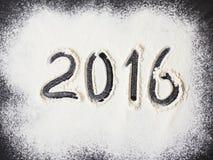 Aufschrift 2016 zum Mehl lizenzfreies stockfoto