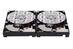 Aufschriftfehlerhafter block auf zwei HDD Stockfoto