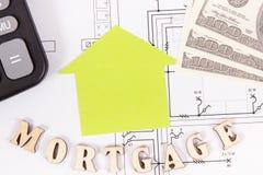 Aufschrifthypothek, Dollar und Taschenrechner auf elektrischer Zeichnung, Berechnungen des Kaufens oder Gebäudehauskonzept lizenzfreie stockfotos