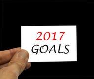Aufschriftkarte mit 2017 Zielen auf schwarzem Hintergrund Lizenzfreies Stockbild