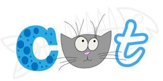 Aufschriftkatze Entwerfen Sie Beschriftung für T-Shirt, Schale mit einer Katze Die Aufschriftkalligraphie stock abbildung