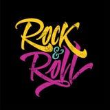 Aufschriftrock-and-roll für das Plakat, T-Shirts Stockbild
