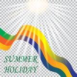 AufschriftSommerferien Solar-Brasilien, Ferien in Rio Band auf einem weißen Hintergrund Abbildung Lizenzfreie Stockbilder