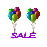 Aufschriftverkaufsfliegen auf Ballonen Lizenzfreie Stockfotos