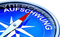 Aufschwung. 3D illustration of an compass with the german word Aufschung Royalty Free Stock Image