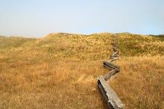 Aufspalten-Schiene Zaun auf dem Gebiet Stockfotografie