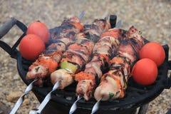 Aufsteckspindeln des Fleisches, der Pilze und der Tomate Lizenzfreie Stockbilder