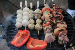 Aufsteckspindeln des Fleisches, der Pilze und der Tomate Lizenzfreie Stockfotografie