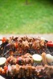 Aufsteckspindeln des verschiedenen Fleisches und des Gemüses auf dem Grill Lizenzfreie Stockfotos