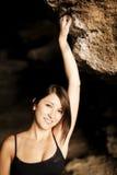 Aufstellung des weiblichen Bergsteigers Stockbild