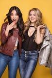 Aufstellung mit zwei moderne Mädchen Stockbild