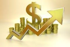 Aufstieg des Dollars Stockbild