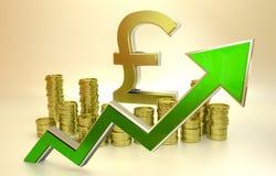 Aufstieg des Pfund Stockbild