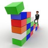 Aufstiegstreppe des Mannes 3d des Würfelkonzeptes Stockfoto