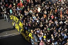Aufstände in Rom - italienischer Kursteilnehmer-Protest Stockbild
