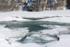 Auftauen des Eises auf dem Fluss im Vorfrühling, Katun-Fluss Lizenzfreie Stockfotografie