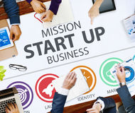 Auftrag beginnen oben Geschäfts-Produkteinführung Team Success Concept stockfotos