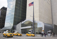 Auftrag Vereinigter Staaten zu den Vereinten Nationen, die in Manhattan errichten Stockbild