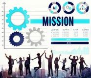 Auftrag-Ziel-Aspirations-Inspirations-Ziel-Ziel-Konzept Stockfoto