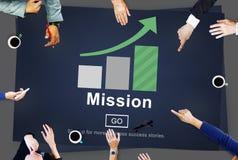 Auftrag-Ziel-Ziel-Ziel-Visions-Strategie-Konzept Stockbild