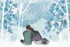 Auftritt der Paare steht auf den Schultern eines Mannes - grafische Malereibeschaffenheit still Lizenzfreies Stockbild