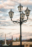 Aufwändige Beleuchtungsstruktur am Schoenbrunn-Schloss in Wien, Österreich Stockfotos