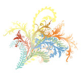 Aufwändige gelockte Blumenreb- und -blattillustration Lizenzfreie Stockfotos