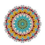 Aufwändige Mandala der dekorativen arabischen runden Spitzes Weinlesevektormuster für Druck oder Webdesign Abstraktes buntes Stockbild