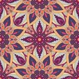Aufwändige nahtlose mit Blumenbeschaffenheit, endloses Muster mit Weinlesemandalaelementen Stockfotos