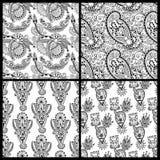 Aufwändige nahtlose Schwarzweiss-Blume Paisley Stockfoto