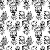 Aufwändige nahtlose Schwarzweiss-Blume Paisley Lizenzfreie Stockfotografie
