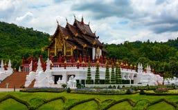 Aufwändige thailändische Architektur von Ho Kham Luang Pavilion am königlichen Park Rajapruek in Chiang Mai, Thailand Lizenzfreie Stockfotos