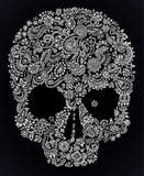 Aufwändiger mit Blumenschädel des Gekritzels Lizenzfreies Stockfoto