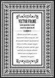 Aufwändiger Rahmen der Weinlese mit Beispieltext Stockbilder