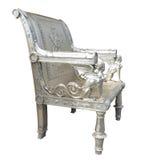 Aufwändiger silberner Stuhl mit ägyptischen Abbildungen Stockfotos