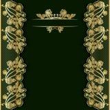 Aufwändiger Weinlesegrünhintergrund mit goldener Spitze Schablone für Grußkarte, -einladung oder -abdeckung Stockfotografie